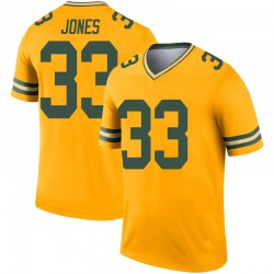 Aaron Jones Green Bay Packers Youth Legend Inverted Nike Jersey - Gold