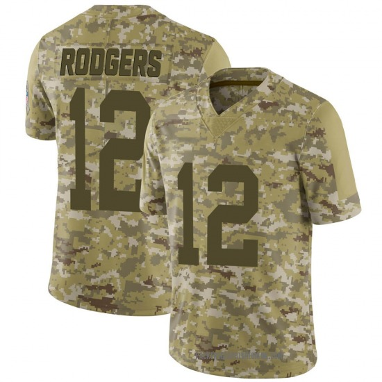 Aaron Rodgers Green Bay Packers Men's Limited 2018 Salute to Service Jersey - Camo