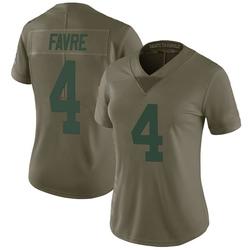 Brett Favre Green Bay Packers Women's Limited Salute to Service Nike Jersey - Green