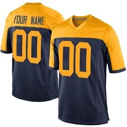 Custom Green Bay Packers Men's Game Custom Alternate Nike Jersey - Navy
