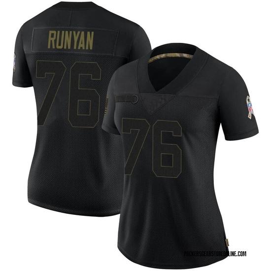 Jon Runyan Green Bay Packers Women's Limited 2020 Salute To Service Jersey - Black