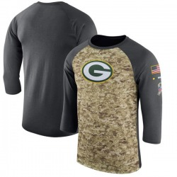 Men's Green Bay Packers Camo/Anthracite Salute to Service Sideline Legend Performance Three-Quarter Sleeve T-Shirt