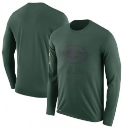 Men's Green Bay Packers Green 2018 Salute to Service Sideline Legend Performance Long Sleeve T-Shirt