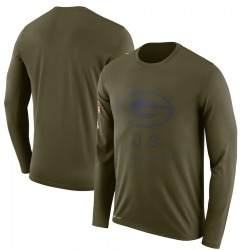 Men's Green Bay Packers Olive 2018 Salute to Service Sideline Legend Performance Long Sleeve T-Shirt