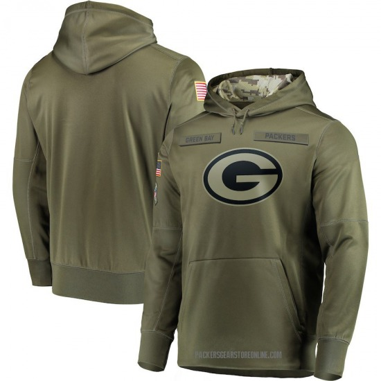 Men's Green Bay Packers Olive 2018 Salute to Service Sideline Therma Performance Pullover Hoodie