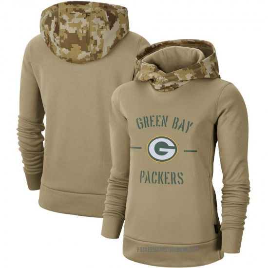 Women's Green Bay Packers Khaki 2019 Salute to Service Therma Pullover Hoodie