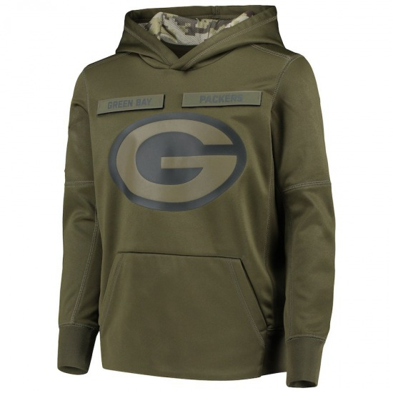 Youth Green Bay Packers Green 2018 Salute to Service Pullover Performance Hoodie