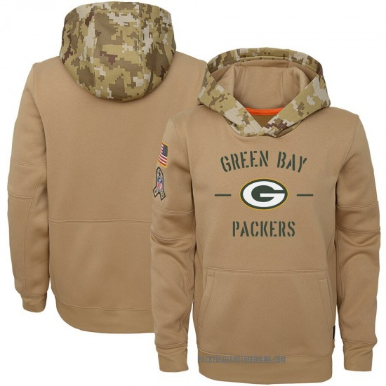 Youth Green Bay Packers Khaki 2019 Salute to Service Therma Pullover Hoodie