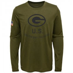Youth Green Bay Packers Olive 2018 Salute to Service Legend Performance Long Sleeve T-Shirt