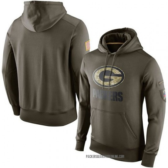 Men's Green Bay Packers Olive Salute To Service KO Performance Hoodie